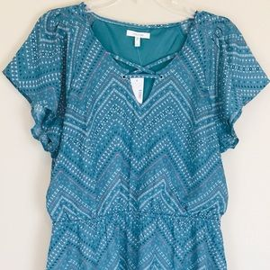 Maurices Short Sleeve Turquoise Summer Dress L NWT